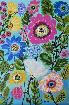 Bohemian Flowers Painting Large Nursery Art by Karen Fields