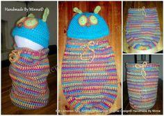 Virkattu Toukkapussi ja pipo, crocheted baby cocoon and hat