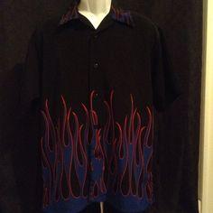 Mens Breakdown Short Sleeve Medium Black Blue Flames Casual Button Front Shirt #Casual #ButtonFront