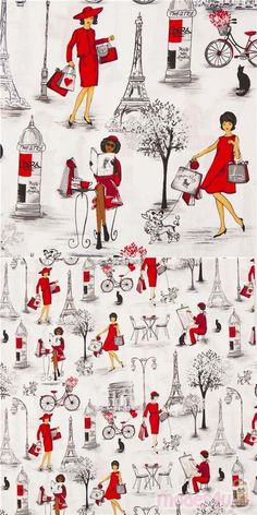 white cotton fabric with retro fashion women dressed in red, painting, reading, walking a dog etc., very high quality fabric, typical great Timeless Treasures quality #Cotton #FamousPlaces #Landmarks #People #USAFabrics