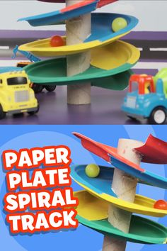 A great DIY toy you can make from items you already have at home! Create a fun spiral track for your little one's cars, trucks, marbles, and more! #DIY #Crafts #Activities #paperplate #kids #toddlers #prek #preschool #cars #marbles #toy #game #indoorfun #diytoy #frugaltoy #frugalgame Diy Crafts For Kids Easy, Paper Crafts For Kids, Diy Arts And Crafts, Toddler Crafts, Fun Crafts, Diy Toys For Toddlers, Toddler Learning Activities, Craft Activities For Kids, Diy Preschool Toys