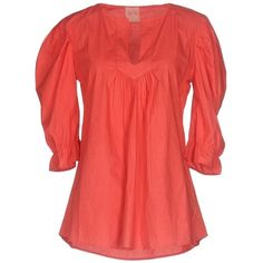 Nolita Blouse ($105) ❤ liked on Polyvore featuring tops, blouses, coral, red top, short-sleeve blouse, v neck tops, red short sleeve top and short sleeve tops