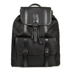 Neil Barrett Coated canvas and leather backpack