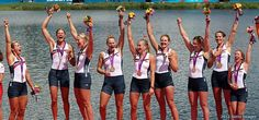 Women's Eight Gold. The U.S. boat led the Women's Eight Olympic final from start to finish, never letting either Canada or Denmark have a stroke of hope.