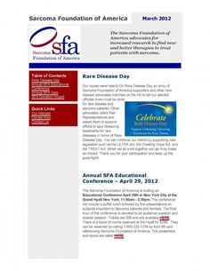 SFA News.  Learn more about the Sarcoma Foundation of America at www.curesarcoma.org.