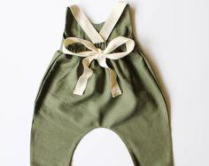 Linen & Lace jumpsuit-linen romper/jumpsuit- olive green jumpsuit/romper- lace jumpsuit/romper- toddler romper / jumpsuit - boho romper