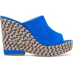 Paloma Barceló - Clare Suede Wedge Sandals ($139) ❤ liked on Polyvore featuring shoes, sandals, blue, platform sandals, blue suede flats, platform espadrilles, blue wedge sandals and espadrille wedge sandals
