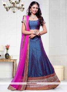 Blissful Dark Blue And Magenta Dhupion Silk A Line Lehenga Choli