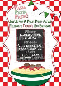 "Printable ""PASTA PARTY INVITATION"" - Italian Themed Party Invitation - Pasta Birthday Party Invitation - Cooking Party Invite - Pasta Invite..."