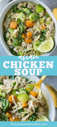 Asian Chicken Soup is a healthy asian soup recipe you'll love! Filled with noodles, carrots, bok choy and more - this easy soup can be made in the instant pot, slow cooker or on the stove. This soup is paleo, keto, and whole30. You can make it spicy or keep it mild! Nourishing and delicious.