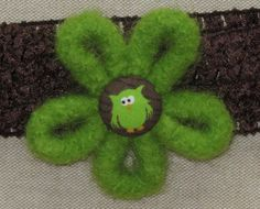 Headband Felt Flower with Owl Green and Brown by Blossomshkd, $11.00