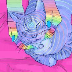 animated art by Jean-Francois+Painchaud Psychedelic Art, Psycho Gif, Gifs, Illustrations, Illustration Art, Gato Gif, Acid Art, Cat Cards, Of Wallpaper