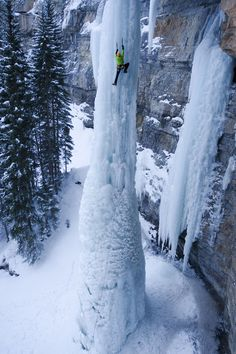 He is ice climbing a frozen waterfall. That is amazing and thought-provoking.