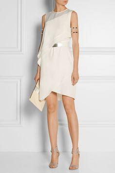 Halston Heritage|Asymmetric satin-trimmed crepe dress|NET-A-PORTER.COM