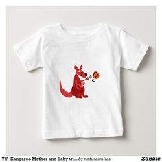 YY- Kangaroo Mother and Baby with Basketball Baby T-Shirt Red Kangaroo, Basketball Baby, Basketball Design, Funny Baby Shirts, Consumer Products, Mother And Baby, Basic Colors, Dog Design