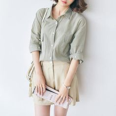 Korean fashion solid color long-sleeved blouse - AddOneClothing - 1