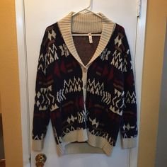 Patterned button up sweater BNWOT Perfect for a cozy yet fashionable look. Looks great with some jeans or leggings! Best worn for the fall and winter Moon Collection Sweaters Cardigans