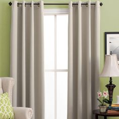 Ultimate Blackout Grommet Top Panel is woven in 3 layers, a tight weave of colored yarns on the front/back, sandwiched around an inner layer of black yarns. Diy Blackout Curtains, Blackout Panels, Yarns, Blue Grey, Weave, Layers, Top, Window, Nursery