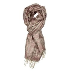 Minty Rose Jamavar Silk Scarf