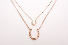 Equestrian Rose Gold Small Horseshoe Necklace