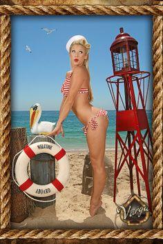 red stripe bikini pin up girl photo shoot retro nautical sailor beach