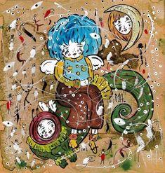 """Мэрон Альмейда (Mairon Almeida) - бразильский художник. Пишет свои картины, основываясь на рассказе: """"""""Little winged"""" в стране абсурда Original Art, Original Paintings, Fantasy Paintings, Ink Painting, Watercolor And Ink, Gouache, Surrealism, Buy Art, Paper Art"""