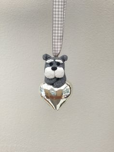 Schnauzer on Small Glass heart, little Dog on heart Unique Handmade Ornament unusual by MomapawsHomecraft on Etsy