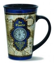 """Large mug! ~ 22 oz. """"Se Fuente"""" nautical mug with compass in Spanish."""