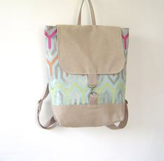 Jade Blue Green Abstract Line Stylish  Backpack Unique by BagyBag, $85.70