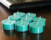 Key West Scented Soy Tea Light Candles, 8 Each Tea Lights, Scented Candles, Handmade Candles, Teal Candles