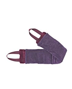"Better design for rice heat pad - handles!: Soft polyester chenille cover, nylon handles; Fragrant filling is rice, cloves, lavender, rosemary, and orris root; 25"" L x 3-1/2"" W; straps are 7"" L"
