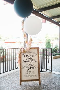 Black and white giant balloons - wedding welcome sign display