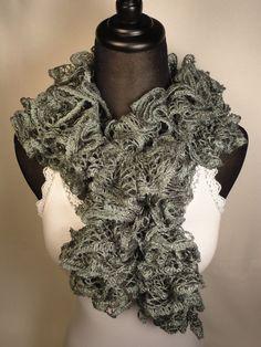 Silver Gray Ruffle Scarf - Crocheted Gray Ruffle Scarf - Crocheted Scarf - Ruffle Scarf - Silver Ruffle Scarf by HappyNanaba, $9.00 USD