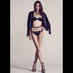 @Acne Studios #leather jacket @agentprovocateurofficial bikini