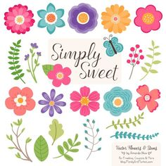 Cute Flowers Clipart in Crayon Box - Crayon Box Vector Flowers, Crayon Box Clipart Flowers, Floral Clipart, Flower Graphics, Simple Flowers Bright Flowers, Simple Flowers, Pretty Flowers, Vector Flowers, Flower Clipart, Simple Flower Design, Flower Designs, Crayon Box, Flower Graphic