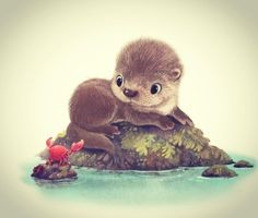 A little otter fresh from a bath! This little guy is just one of many cuddly and not-so-cuddly creatures. Very cute, with little crab friend Cute Animal Illustration, Cute Animal Drawings, Illustration Art, Illustrations, Adorable Drawings, Drawing Animals, Baby Otters, Cute Baby Animals, Wild Animals
