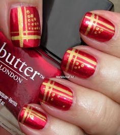 Marias Nail Art and Polish Blog: Red and gold stripes and dots