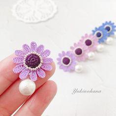 Crochet Earrings Pattern, Crochet Jewelry Patterns, Crochet Accessories, Crochet Art, Cute Crochet, Crochet Flowers, Diy Earrings, Stud Earrings, Leaf Flowers