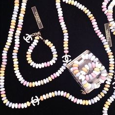 Chanel candy necklaces... ridiculous and amazing.