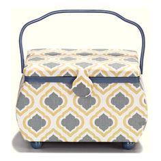 Prym Large Sewing Basket Blue Bohemian Design