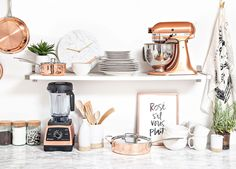 Design your perfect wedding registry with Zola // copper + rose gold and marble kitchen