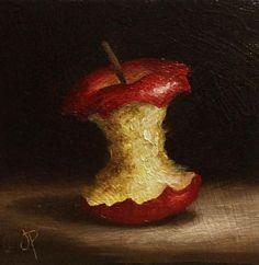 Little Apple core, J Palmer Original oil still life mini Art