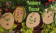 Nature faces- creating art in the garden (happyhooligans)