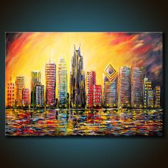 24x36 Original Chicago Windy City Skyline by FariasFineArt on Etsy, $385.00