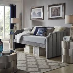 Willa Arlo Interiors Elof Twin Daybed & Reviews | Wayfair Trundle Mattress, Twin Daybed With Trundle, Daybed With Storage, Wood Daybed, Upholstered Daybed, Pull Out Sofa Bed, Light Blue Walls, Victorian Furniture, Panel Headboard