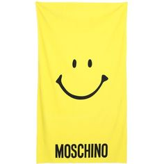 MOSCHINO BEACHWEAR Printed Techno & Cotton Beach Towel ($107) ❤ liked on Polyvore featuring home, bed & bath, bath, beach towels, beach, home decor, yellow, cotton beach towels, yellow beach towel and moschino