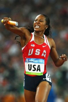 sanya richards ross. LOVE LOVE LOVE that she took the gold with her hair down and bling on!  Go girl!!!