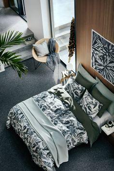 Súprava vzorovaných obliečok - biela/tlačený vzor listov - HOME | H&M SK