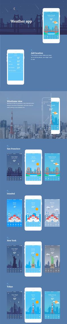 15 Creative Mobile Weather Apps UI for Inspiration - Apss Web Design, App Ui Design, User Interface Design, App Wireframe, Mobile Ui Design, Application Design, Interactive Design, Iphone, Branding