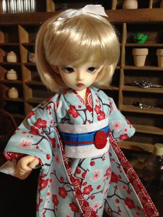 Red Sakura Kimono and obi for 1/6th 26cm YOSD by DayDreamerDolly